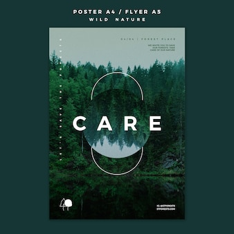 Flyer template for wild nature with forest