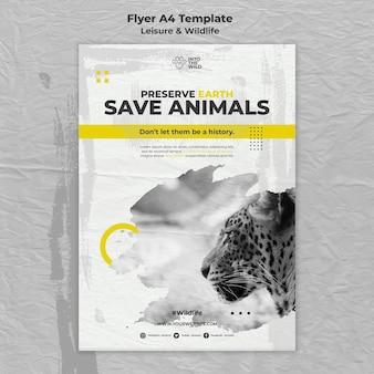 Modello di volantino per la protezione della fauna selvatica e dell'ambiente