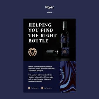 Modello di volantino per azienda vinicola con bottiglia e apri