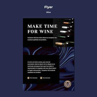 Modello di volantino per azienda vinicola con bottiglie