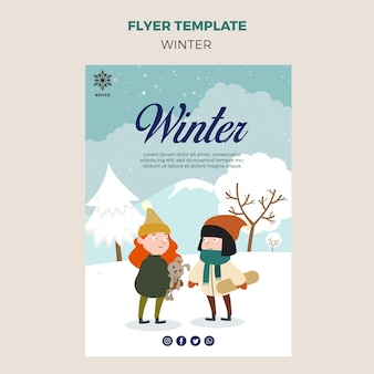 Flyer template for winter with kids