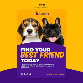 Flyer template with adopt pet concept