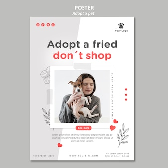 Flyer template with adopt pet theme