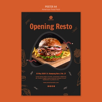 Flyer template with american food concept