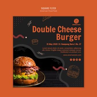 Flyer template with american food design