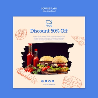 Flyer template with american food