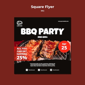 Flyer template with barbeque concept