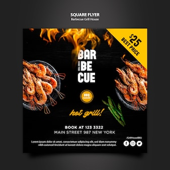 Flyer template with barbeque design