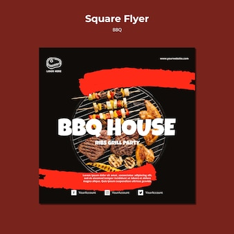 Flyer template with barbeque theme