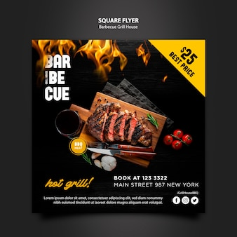 Flyer template with barbeque