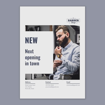 Flyer template with barber concept