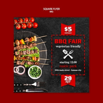 Flyer template with bbq concept