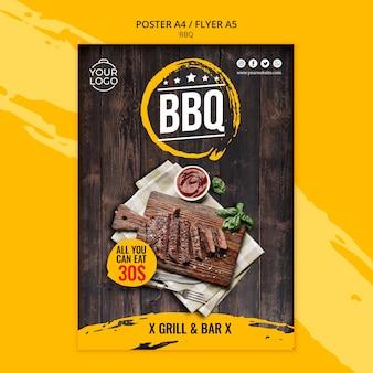 Flyer template with bbq design Free Psd