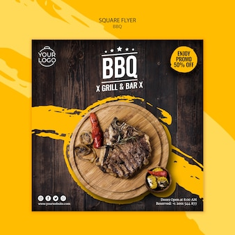 Flyer template with bbq theme