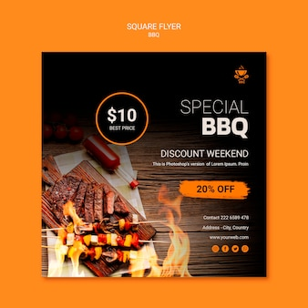 Flyer template with bbq