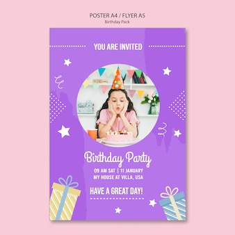 Flyer template with birthday invitation theme