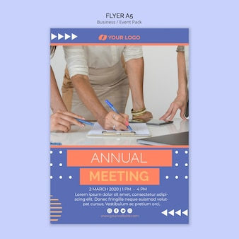 Flyer template with business event theme