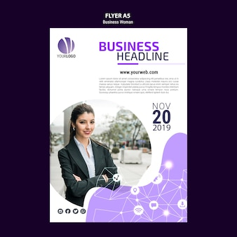 Flyer template with business woman