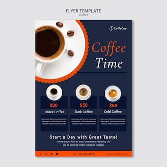 Flyer template with coffee concept