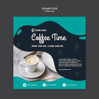 Flyer template with coffee design