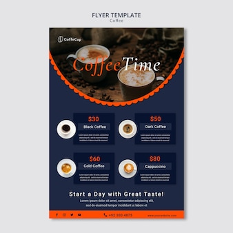 Flyer template with coffee