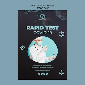 Flyer template with covid 19 design