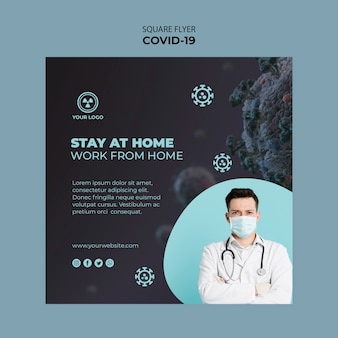 Flyer template with covid 19