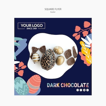 Flyer template with dark chocolate for easter