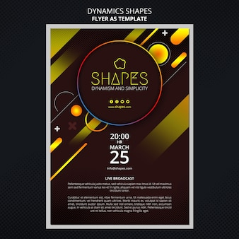 Flyer template with dynamic geometric neon shapes