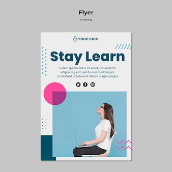 Flyer template with e-learning