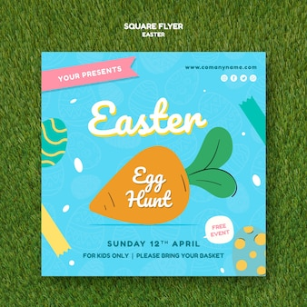 Flyer template with easter day concept
