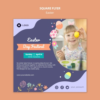 Flyer template with easter day design