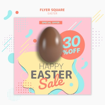 Flyer template with easter day sale concept