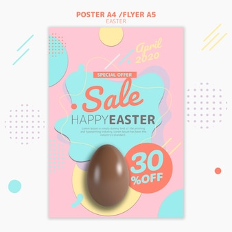 Flyer template with easter day sale