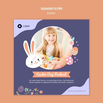 Flyer template with easter day theme