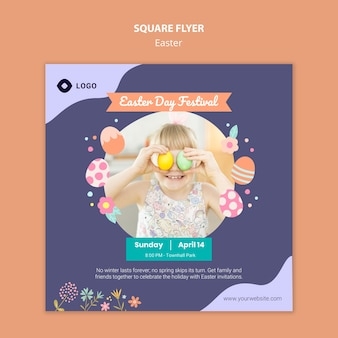 Flyer template with easter day