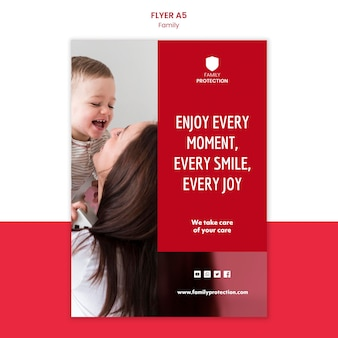 Flyer template with family concept