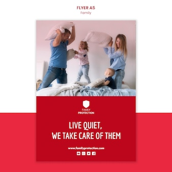Flyer template with family