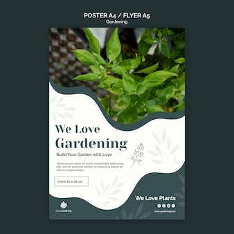 Flyer template with gardening