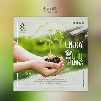 Flyer template with hands holding plant and soil