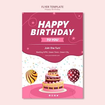Flyer template with happy birthday theme