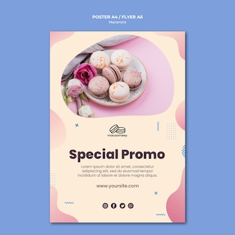 Flyer template with macarons