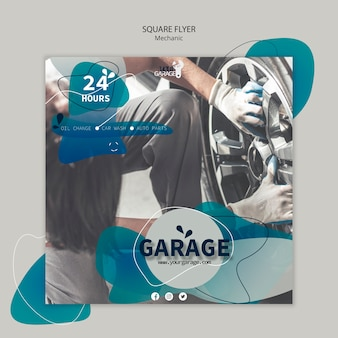 Flyer template with mechanic design