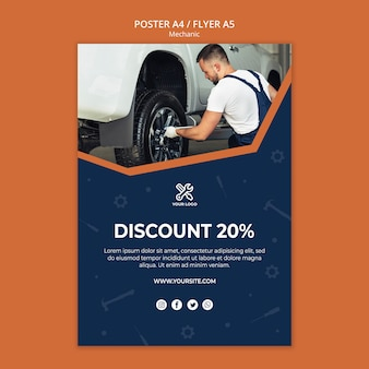 Flyer template with mechanic repairing car