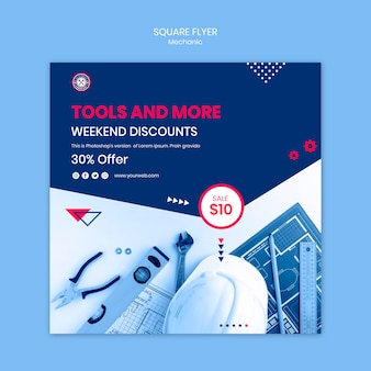Flyer template with mechanic theme