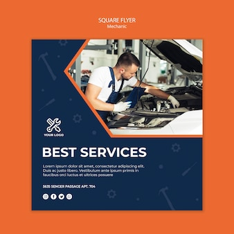 Flyer template with mechanic at work
