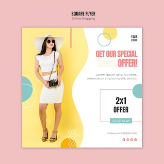 Flyer template with online shopping concept