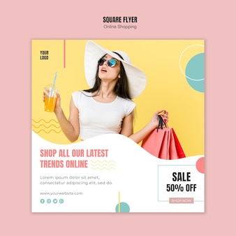 Flyer template with online shopping