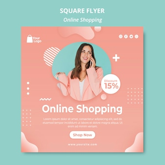 Flyer template with online shoppings