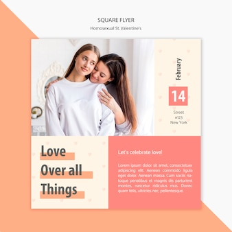 Flyer template with photo of beautiful couple